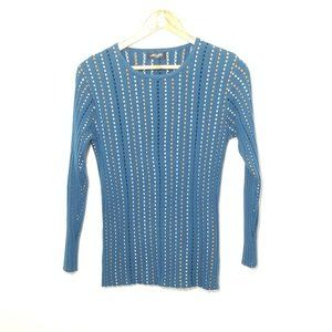 3/20🔥Moffi Ribbed Knit Square Pattern Sweater Top